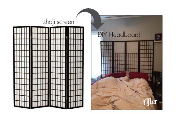 DIY Headboard from shoji screen (sorry for not making bed!)