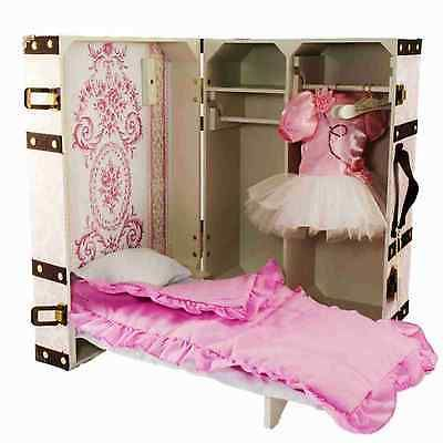 """18"""" Doll Clothes Storage Trunk Suitcase w/ Bed  Bedding Hanger For American Girl"""