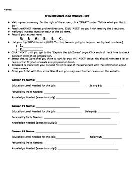 Printables Career Exploration Worksheets For Highschool Students career exploration worksheet and webquest this is to be used with mynextmove org my 7th grade students had a blast fig