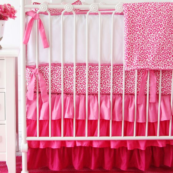 Girly Pink Nursery Decor: Pink Leopard Baby Bedding With A Hot Pink Ombre Ruffled