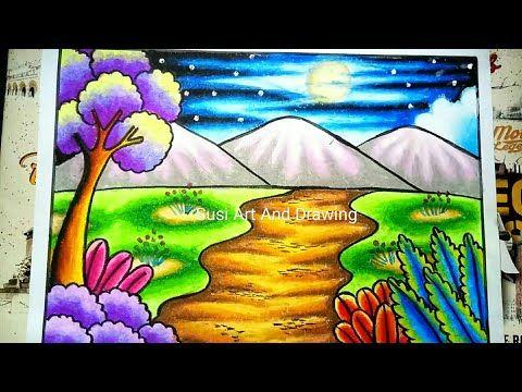 Cara Menggambar Dan Mewarnai Pemandangan Alam Mudah Youtube Poster Drawing Drawing Sunset Scenery Drawing For Kids