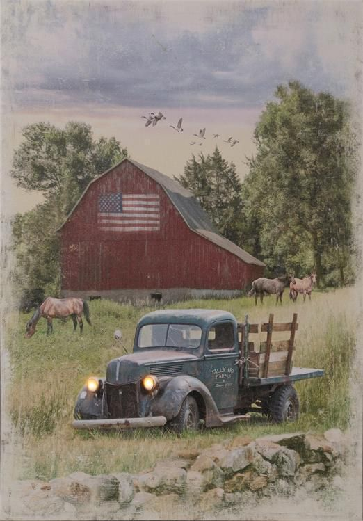 New Primitive Country Antique Truck Barn Lighted Picture Battery