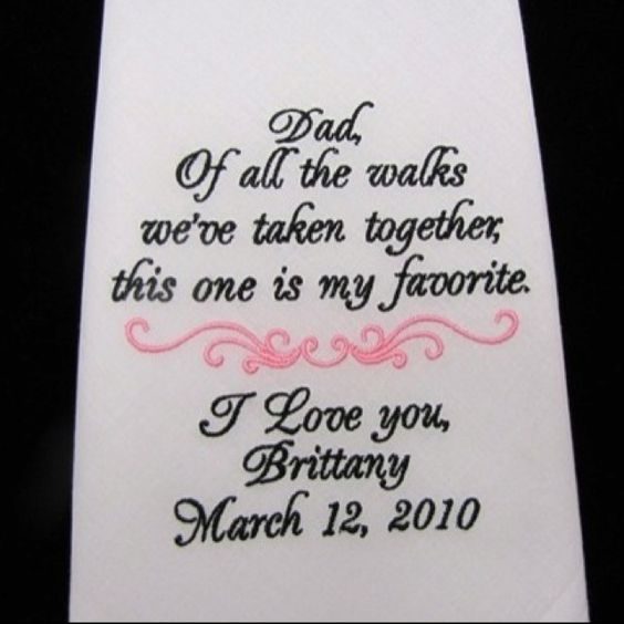 personalized handkerchief for who ever walks you down the aisle  @Aimée Gillespie Camacho