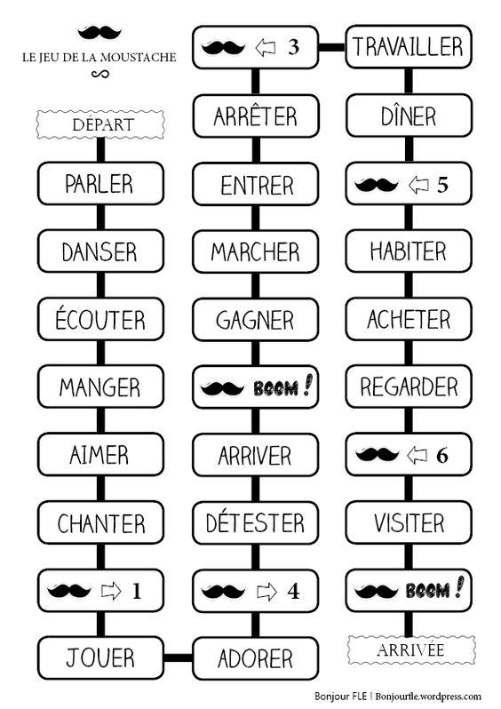 A imprimer – Le jeu de la moustache (verbe à une base phonétique... + acheter/aimer :)) Pour reviser un peu les conjugaisons, jouons au jeu de la moustache (oui pourquoi pas !). Ce jeu se joue en ...