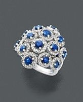 Effy Collection 14k White Gold Ring, Sapphire (2-7/8 ct. t.w.) and Diamond (3/4 ct. t.w.) Cluster