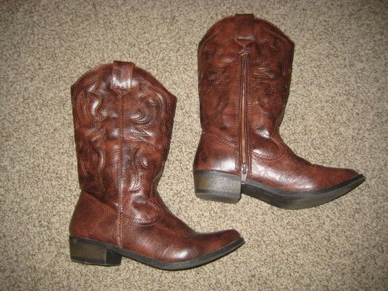 Girl's cowboy cowgirl riding boots Halloween costume size 4 youth  #Boots