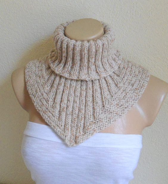 Knit Pattern Cowl Neck Warmer : Men scarf cowl neck warmer knit collar soft hand by likeknitting FASHION AC...