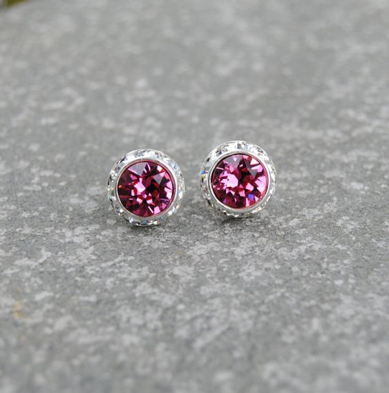 Pink Earrings Diamond Rhinestone Stud Earrings by MASHUGANA