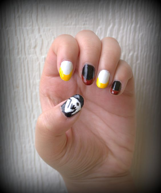 My Sabertooth: Sting and Rogue inspired, Fairy Tail nail art. White and yellow: Sting, and Black and Red: Rogue. I used Migi nail art paint pens. Pained by Jada Talton. #FairyTail #Sabertooth #Nailart