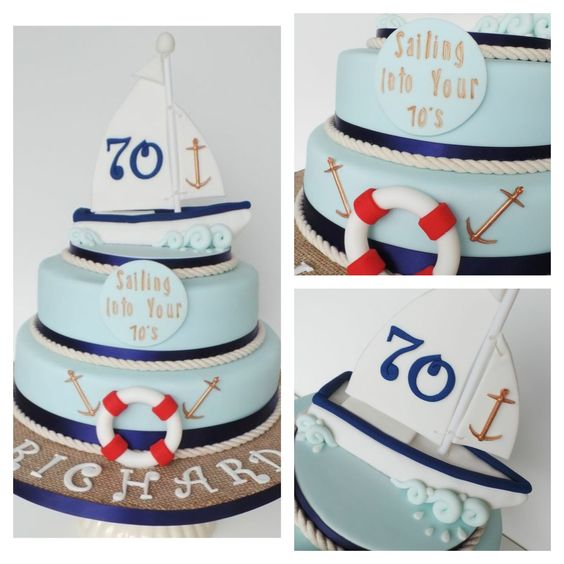 70th birthday Sailing boat cake