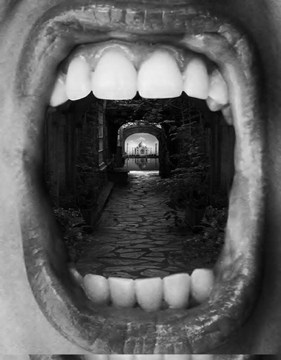 Photomontages by Thomas Barbèy: this photo-montage is by Thomas Barbey, here he has but together a photograph of someone's open mouth and an arch way to a building. It links to the theme of inside, outside and in between because it is the inside of a mouth with a building that is typically found outside, inside of it.