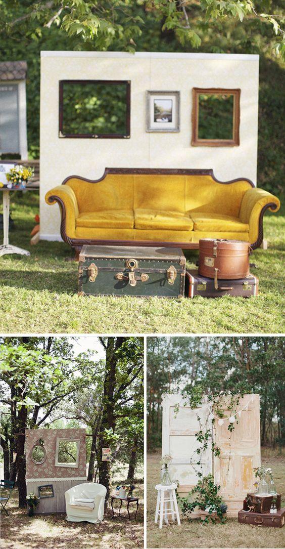 Como realizar un photobooth o photocall. Muebles vintage y marcos