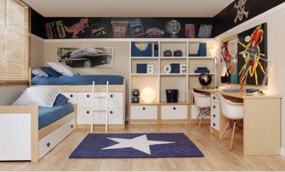 Dormitorio juvenil camas cruzadas muebles pinterest - Camas para chicos ...