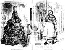Época victoriana - Wikipedia, Diferencia de clases en las mujeres en el año 1871: Mujer aristócrata y mujer trabajadora de Londres.