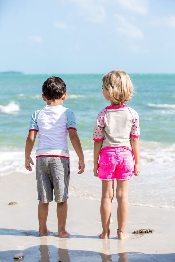 Hot pink swimwear collection for baby and kids by Elly la Fripouille.  French brand, maximal sun protection, UPF 50+.: