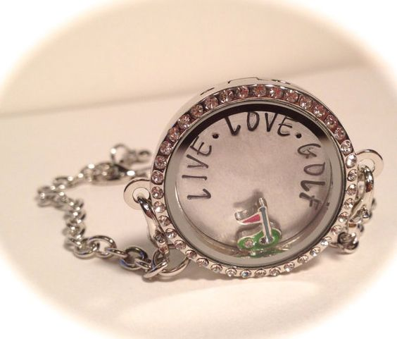 Golf FLOATING LOCKET BRACELET Hand Stamped Floating, Birthstone Living Locket, Memory Locket Bracelet, Mother's Day Gift on Etsy, $34.00