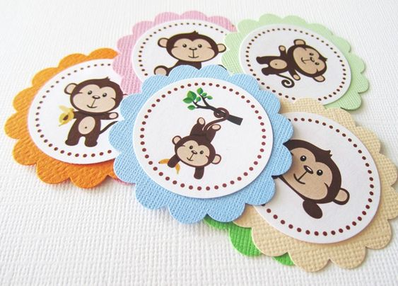 These monkeys tags are so cute.  If you are planning for a cheeky monkey theme baby shower or birthday party, you can use these as gift tags or favor tags to adorn your favor bags or boxes. You can use these to embellish your scrapbook or your DIY projects.   You will get 12 Handmade Monkey Fa...
