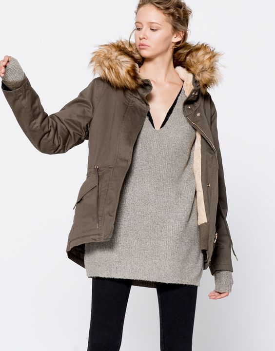 Pull&Bear - mujer - ropa - abrigos + gorro gratis❄ - parka algodón pelo capucha - kaki - 09710316-I2016