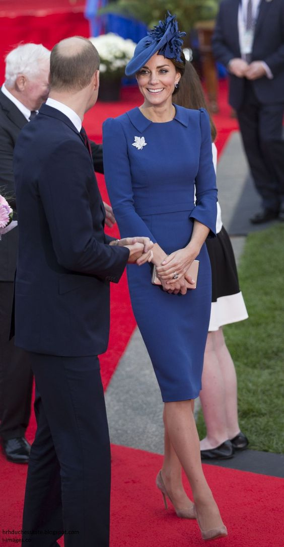 hrhduchesskate: Canada Tour, Day 1, Victoria, British Columbia, September 24, 2016-Duke and Duchess of Cambridge; for the arrival and formal welcome, the Duchess wore a bespoke Jenny Packham blue dress with back collar detail, accessorized with a new Lock & Co. blue maple leaf hat, Gianvito Rossi suede pumps, L. K. Bennett 'Nina' clutch, Queen Elizabeth's diamond maple leaf pin, and G. Collins & Sons tanzanite and diamond earrings