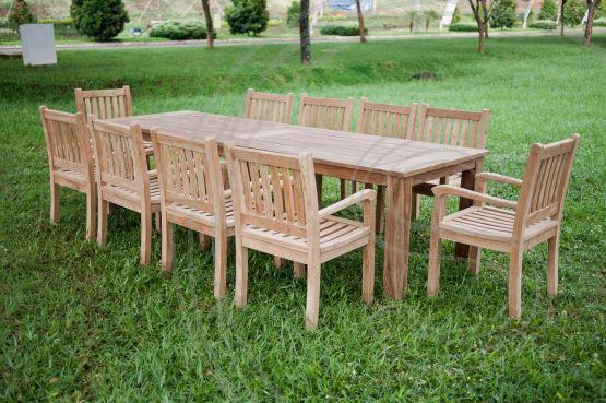 Teak Tuintafel 300x100cm 10 Beaufort Stoelen Outdoor Furniture