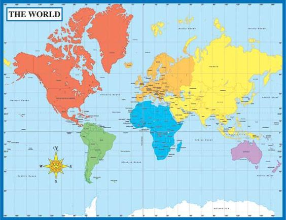 Map of the World Chart, Laminated