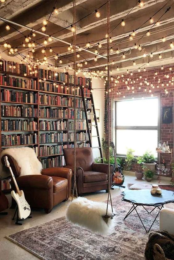 Living Room Interior With String Lights #loft #livingroom Amazing DIY decorations can be made, using bedroom string lights. And this party decor can be placed not only in the bedroom but also in the backyard. #stringlightsdecor #photographyinspiration #photographyideas