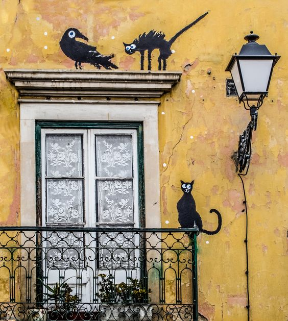 An unexpected meeting | Cats and bird painted on a house wall in Leiria, Portugal: