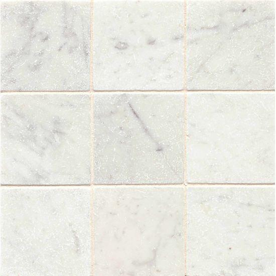 White Carrara 4 X 4 Floor Wall Tile In 2020 Flooring White Carrara Marble Tile Stone Mosaic Tile