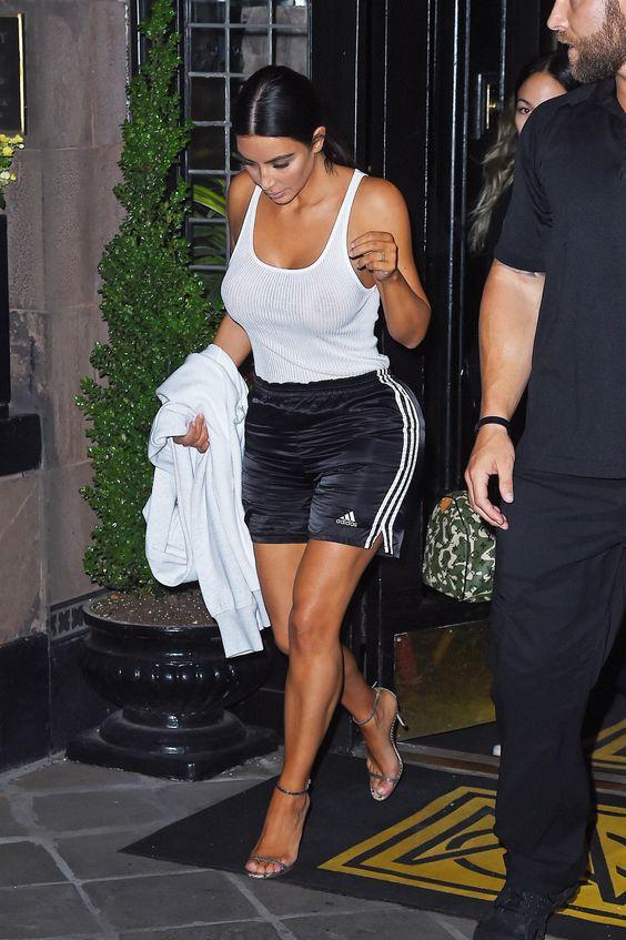NEW YORK - JULY 11: Kim Kardashian seen leaving a photoshoot in Gramercy Park on July 11, 2017 in New York, New York.(Photo by Josiah Kamau/BuzzFoto via Getty Images) via @AOL_Lifestyle Read more: https://www.aol.com/article/entertainment/2017/07/12/kim-kardashian-braless-in-tank-top/23026325/?a_dgi=aolshare_pinterest#fullscreen
