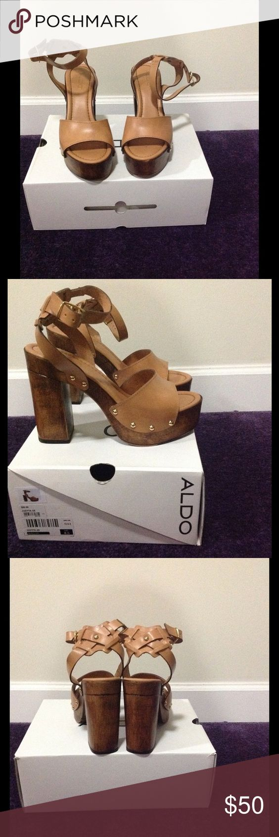 Camel heeled sandal Camel (tan), wood like heeled sandal. Ankle strap. Gold studs around bed of the shoe. Size 8.5 but fits 7.5/8 in my opinion. I am open to offers. Aldo Shoes Platforms