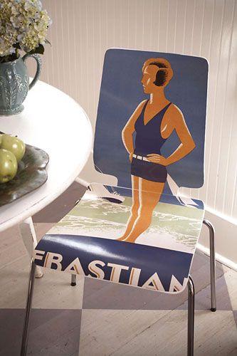 Como fazer decupagem em móveis: Decoupage Chair, Vintage Poster, Mod Podge, Decoupage Furniture, Art Poster, Chair Decoupage, Ikea Chair, Decoupaged Chair