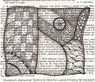 Book page as background for Zentangles. From zannesbazaar.blogspot.com
