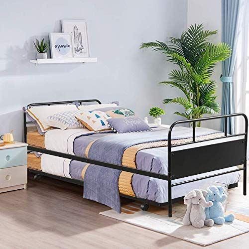 Amazing Offer On Giantex Twin Daybed Trundle Frame Set Trundle Day Bed 2 Headboard Premium Metal Slat Support Easy Assembly Sofa Bed Roll Out Trundle Living Room Guest Room Children Room Online