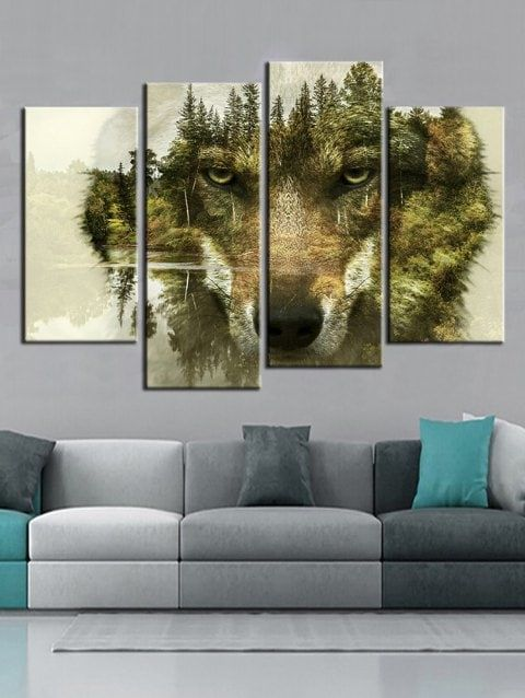 Abstract Forest Wolf Print Split Canvas Wall Art Prints Hanging Paintings Cheap Canvas Wall Art Online Wall Art