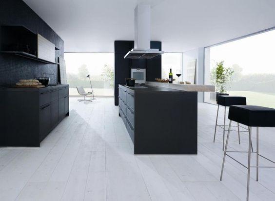 moderne küche matt schwarz insel inselabzugshaube schüller Küche - matt schwarze kchen