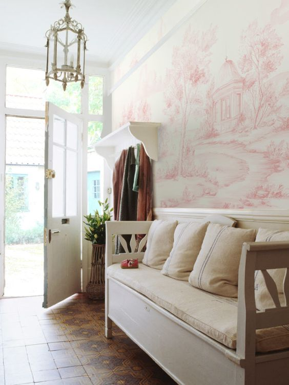 Delft - Blush Susan Harter Muralpapers mural in an entry with classic white furniture. Come see beautifully Peaceful Timeless Trompe-l'oeil Wall Murals to Inspire as well as breathtaking design inspiration.