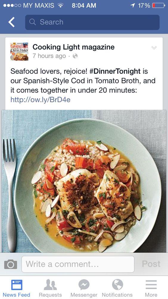 Fish cod in tomato broth
