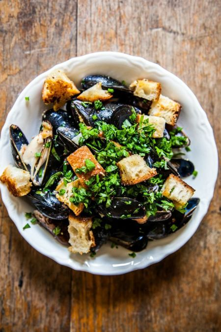 Beer-Steamed Mussels with Mustard, Crème Fraiche, Parmesan Croutons ...