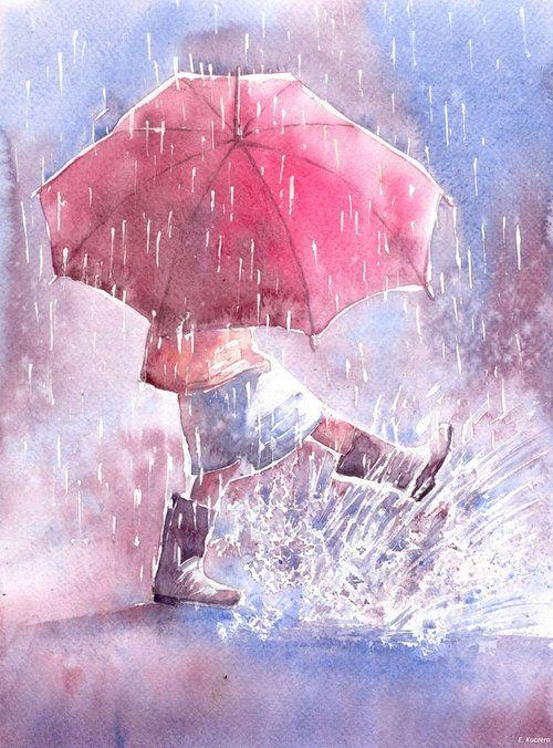 Rain ♡ Puddle fun. Umbrella by Kot-Filemon