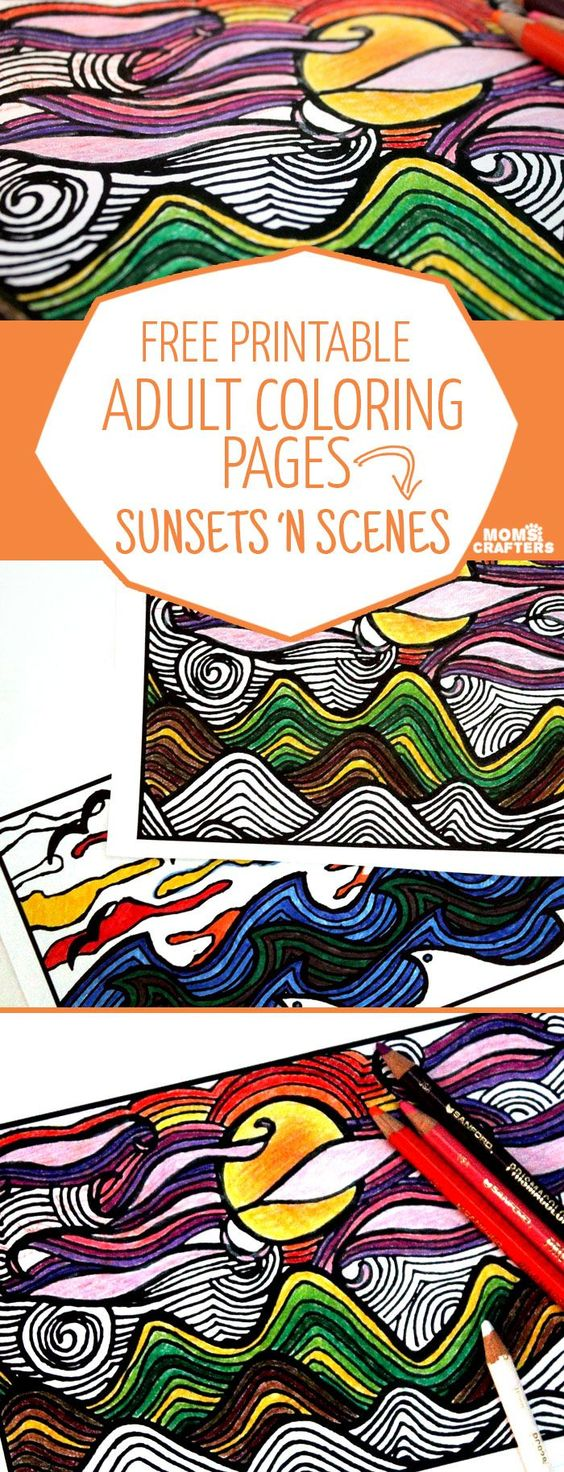 Free Printable Coloring Pages for Adults Sunsets 'n