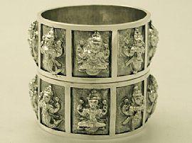 Pair of Indian Silver Napkin Rings - Antique Circa 1890