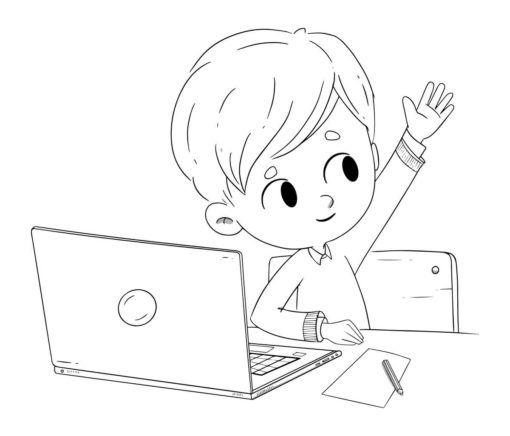 Boy With A Computer Raising His Hand Coloring Page Imagenes Para Colorear Ninos Computadora Para Colorear Paginas Para Colorear