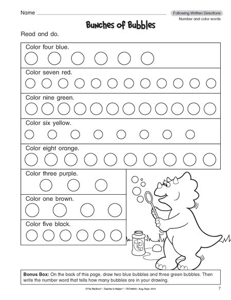 math worksheet : following directions worksheets for 1st grade 1  school ela  : Following Directions Worksheet Kindergarten