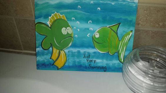 Funny Fish Kids Bathroom Art by BrushstrokesbyMeggen on Etsy