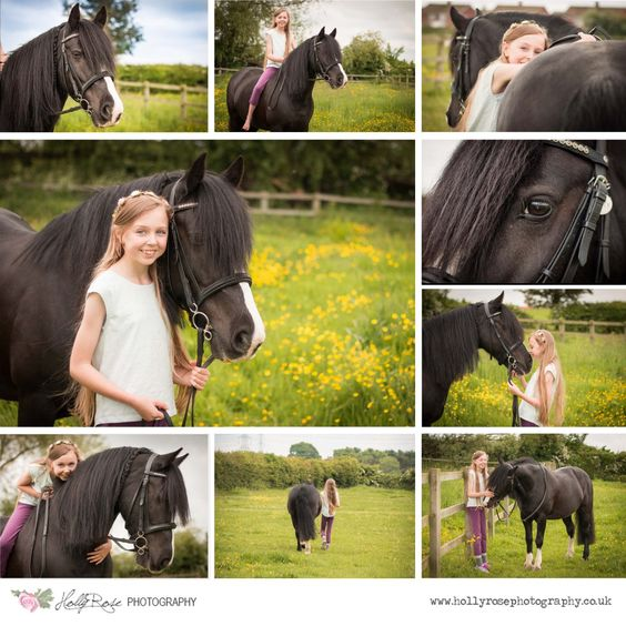 Horse portrait session, My Horse and Me. Girl with black Welsh Section D Pony