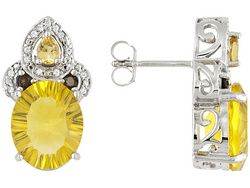 Fluorite 10.60ctw With .31ctw Citrine, .14ctw Smoky Quartz And .17ctw White Topaz Sterling Earrings
