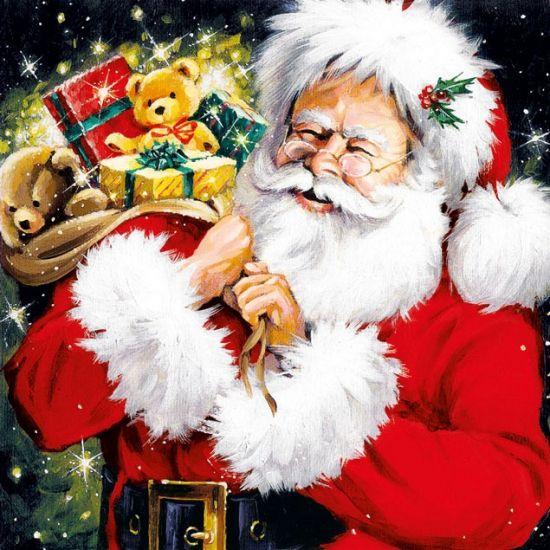 Kerstman met kado's servetten 20 stuks. Papieren servetten bedrukt met plaatjes…
