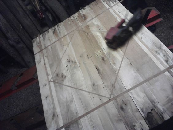 Custom Table Top with wood inlay made from  recycled barnwood by creatively Kustomized on etsy