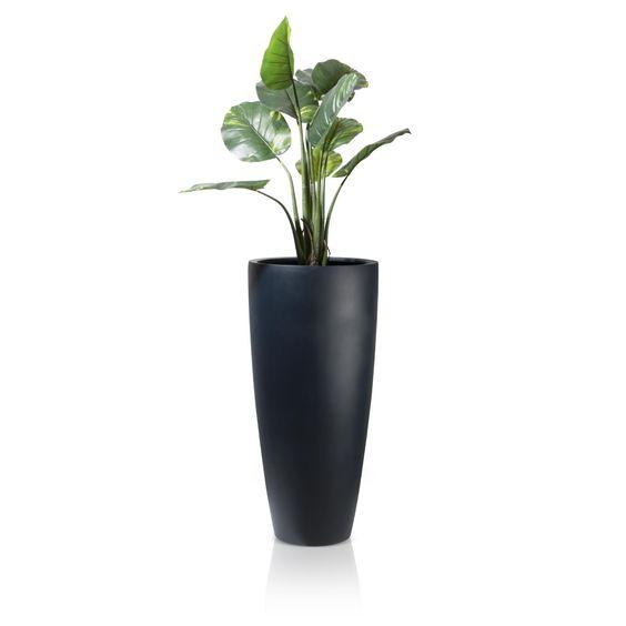 PURO 100 ist ein schlanker, runder Pflanzkübel aus Fiberglas in mattem Anthrazit, dessen Durchmesser sich nach unten hin verjüngt. So bietet er im oberen Bereich genügend Platz, um ihn zu bepflanzen, ohne dabei eine klobige Form zu brauchen. Aus diesen Gründen eignet sich der Pflanzkübel hervorragend, um in ein geschmackvoll gestaltetes Ambiente integriert zu werden, denn hier kommt sein sachliches Design zum Vorschein und er wirkt als toller Eyecatcher.
