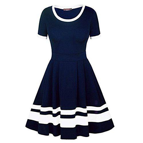 Vertvie Damen Kleider Elegant A Linie Gestreift Beilaufiges Sommerkleid Party Kurzarm Abendkleid Knielang Mini Kleid Kleider Damen Kleider Fur Frauen Modestil